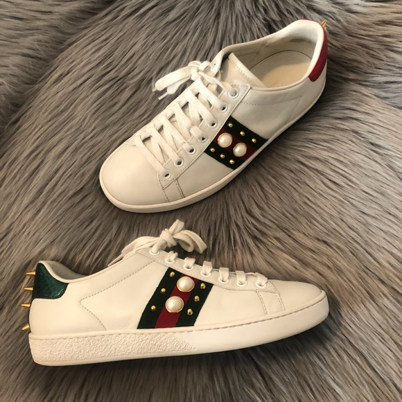 Gucci Womens Ace Pearl Studded Sneakers